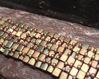 Bracelet: Beadwoven Bobbles in Gold Seed Beads