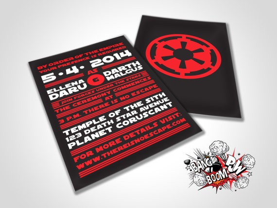 Items Similar To There Is No Escape Star Wars Themed Wedding Invitations On  Etsy