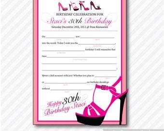 High Heel Shoe Mad Lib Birthday ( Printable, Card,  Invitation, Photo, Announcement )