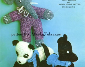 3 Knitted Toys Dog Elephant and Panda PDF 022 from ToyPatternLand by WonkyZebra