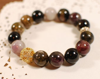10% Sale Plus FREE SHIPPING - Natural Tourmaline Gemstone Bracelet, Bangle - Balance, Heal, Karma, Fortune, Aura