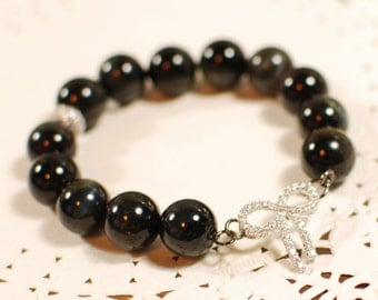 10% Sale Plus FREE SHIPPING - Natural Black Tiger-eye Gemstone Bracelet, Bangle - Wealth, Willpower, Karma, Fortune, Aura