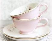 A Fine Art Photo of 2 Pink Vintage tea cups.  Cottage Wall Decor, 5x5, Mid Century,  Pale pink, creme, gold, vintage lace.