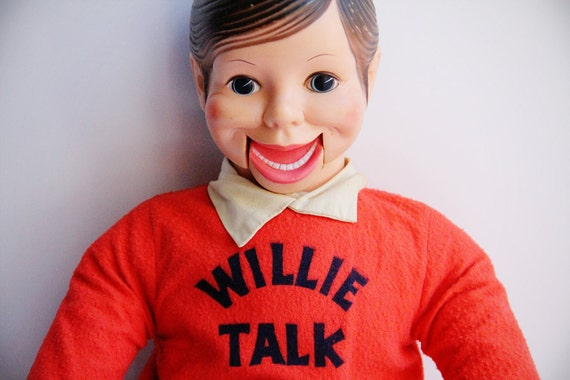 1960s Willie Talk Doll In Bright Orange And Blue Outfit