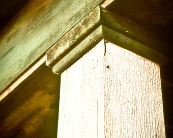 Rustic Art, post, craftsman style, architecture, weathered, green, ivory, Rustic Home Decor, Fine Art Photograph