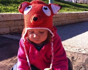 Crochet Handmade Baby Fox Earflap Hat, Newborn Beanie, Photography Prop, Orange Hat