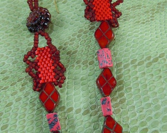 Red one of a kind handcrafted earrings