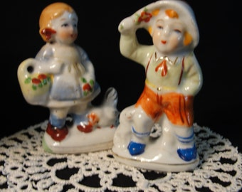 Peasant Boy and Girl Figurines - Occupied Japan