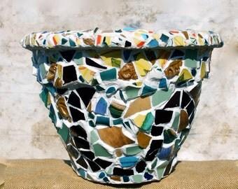 LARGE OUTDOOR PLANTER- Mosaic Tuscany Style