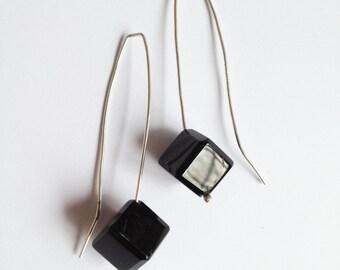 Black Glass Cube on Sterling Silver  - Hook Earring