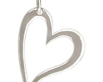 Sterling silver open heart charm pendant for jewelry