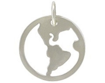 Sterling silver open work world charm or pendant for jewelry