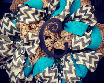 Burlap wreath with turquoise//grey//white chevron with black center letter