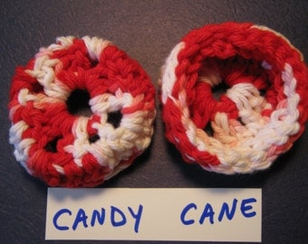 CANDY CANE Ear Pads, Ear Cookies, Ear Cushions for Phone Headset, Call Center, Hand-crochetted, NEW.