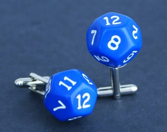 Blue 12 Sided Dice Cufflinks d12 Free gift bag Unique Wedding Party Idea