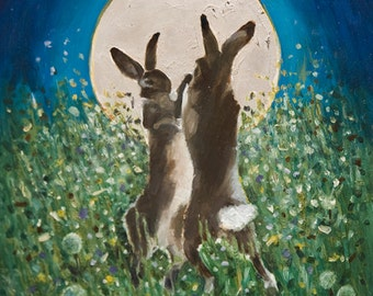 Boxing Hares by Moonlight