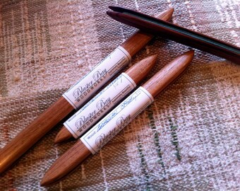 "Set of 3 Poke Shuttles in Matching Wood - one each 6"", 9"", and 12"" - Choice of Exotic Wood - Bluster Bay Handweaving Tool"