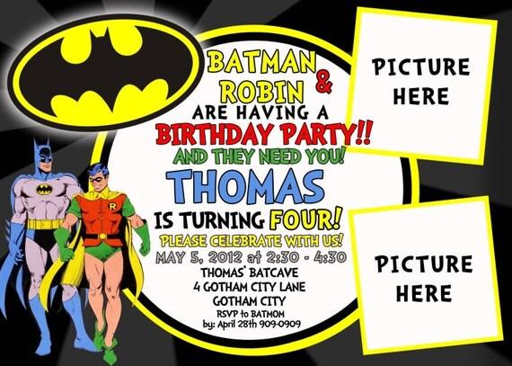 CUSTOM PHOTO Invitations Batman Robin Birthday Invitation