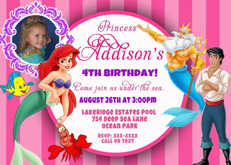 CUSTOM PHOTO Invitations Disney Princess Ariel The Little - Custom ariel birthday invitations