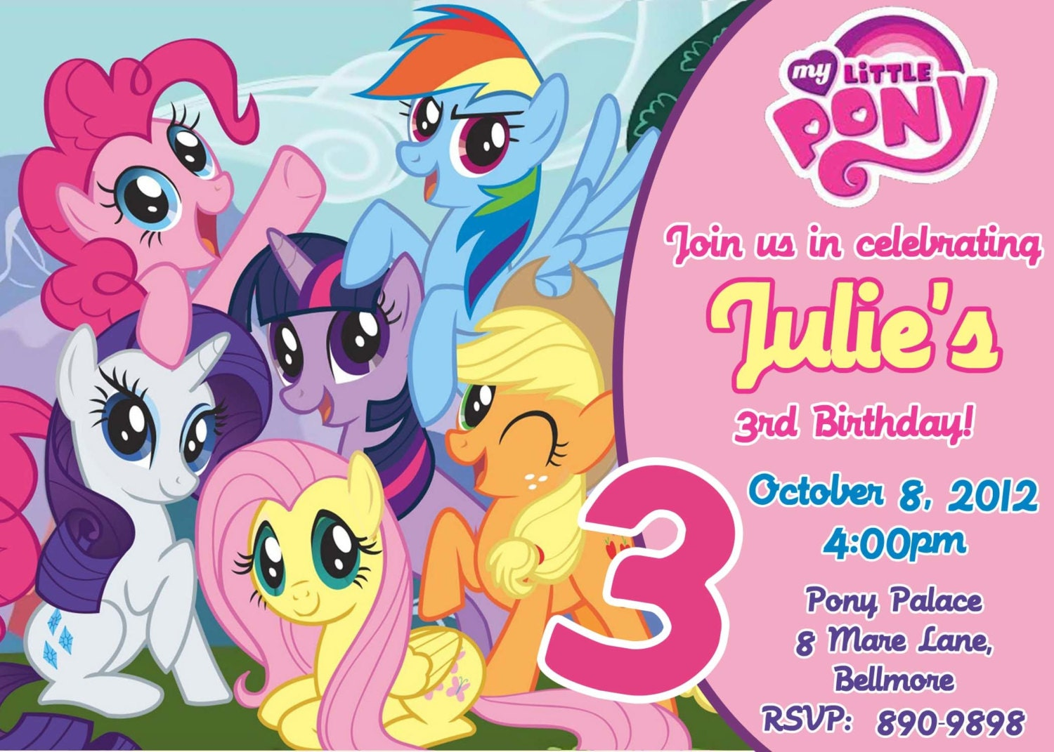 CUSTOM PHOTO Invitations My Little Pony Birthday Invitation – My Little Pony Personalized Birthday Invitations
