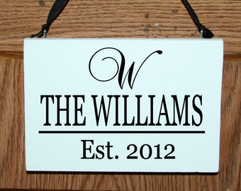 Personalized Family name door hanger sign with established date