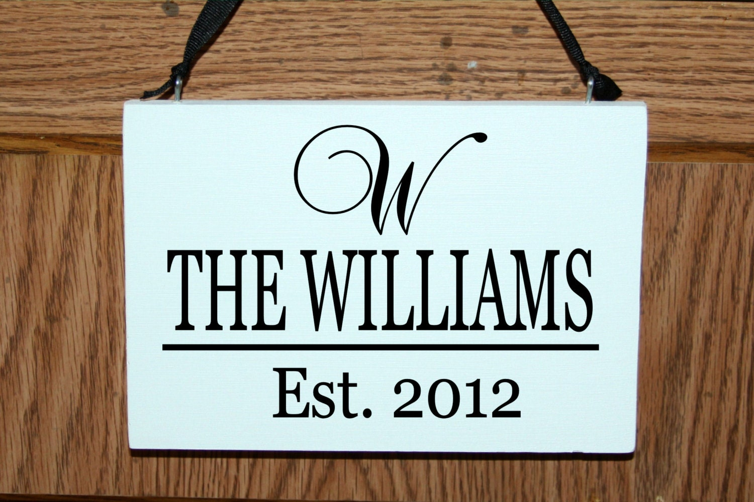 Personalized family name door hanger sign with established for Door name signs