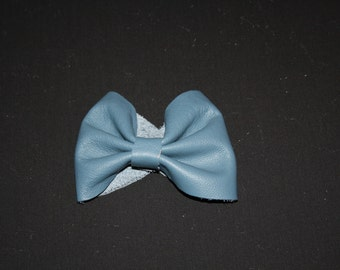 Blue Leather Bow Cuff