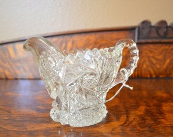 Vintage Imperial Nucut Glass Creamer