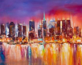 Vibrant New York City Print - 7 x 14