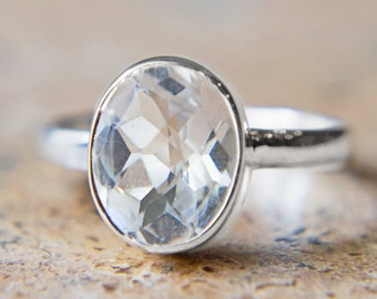 Faceted Clear Quartz Ring - Sterling Silver