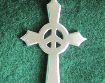 Peace Cross Beautifully  Hand Crafted Sterling Silver 4a