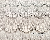 Off White Stretch Eyelash Lace Fabric by the Yard or Wholesale - 1 Yard Style 103