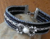 Upcycled  Cuff Diamante and Pearl Bow Bracelet, eco-friendly