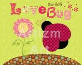 Childrens Art, lady bug, love bug, pink, green, flowers, girls, decor, shower gift, nursery art, print