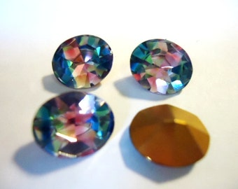 Vintage Glass Iris or Rainbow colour Oval foiled rhinestone approx 12mm x 10mm- 4 pieces