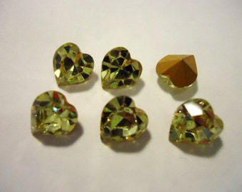Vintage Glass Jonquil Light Yellow colour Heart Shaped foiled rhinestone approx 8mm x 8.8mm -6 pieces