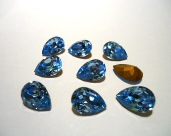 Vintage Pear Light Sapphire Blue colour gold colour foil back stone approx 7mm x 10mm - Austrian- 6 pieces Art No 120T