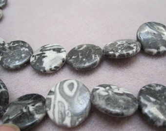 Black Tree Agate Puff Coin Beads
