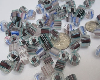 Striped Furnace Cane Glass Beads