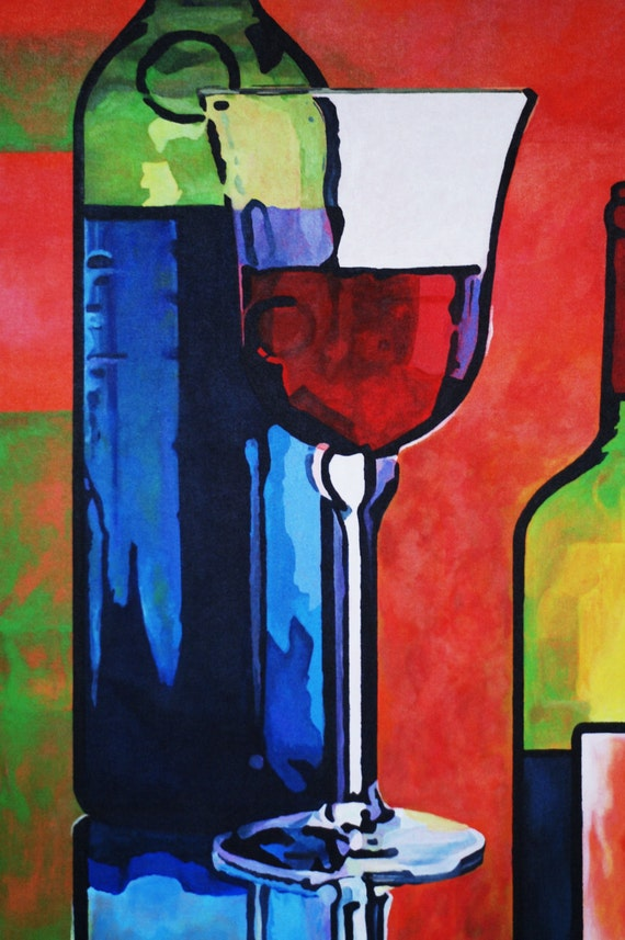 Wine glass fine art print 12x18 from original acrylic painting for Acrylic paint on wine glasses