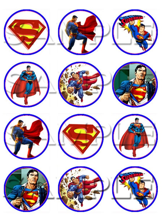 Items Similar To Superman Edible Cupcake Toppers On Etsy