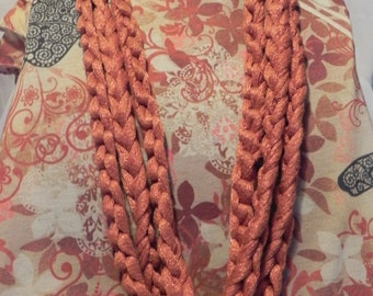 Chunky Crochet Chain Scarf/Necklace in Sparkly Terracotta