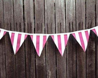 BRIGHT PINK STRIPED bunting.