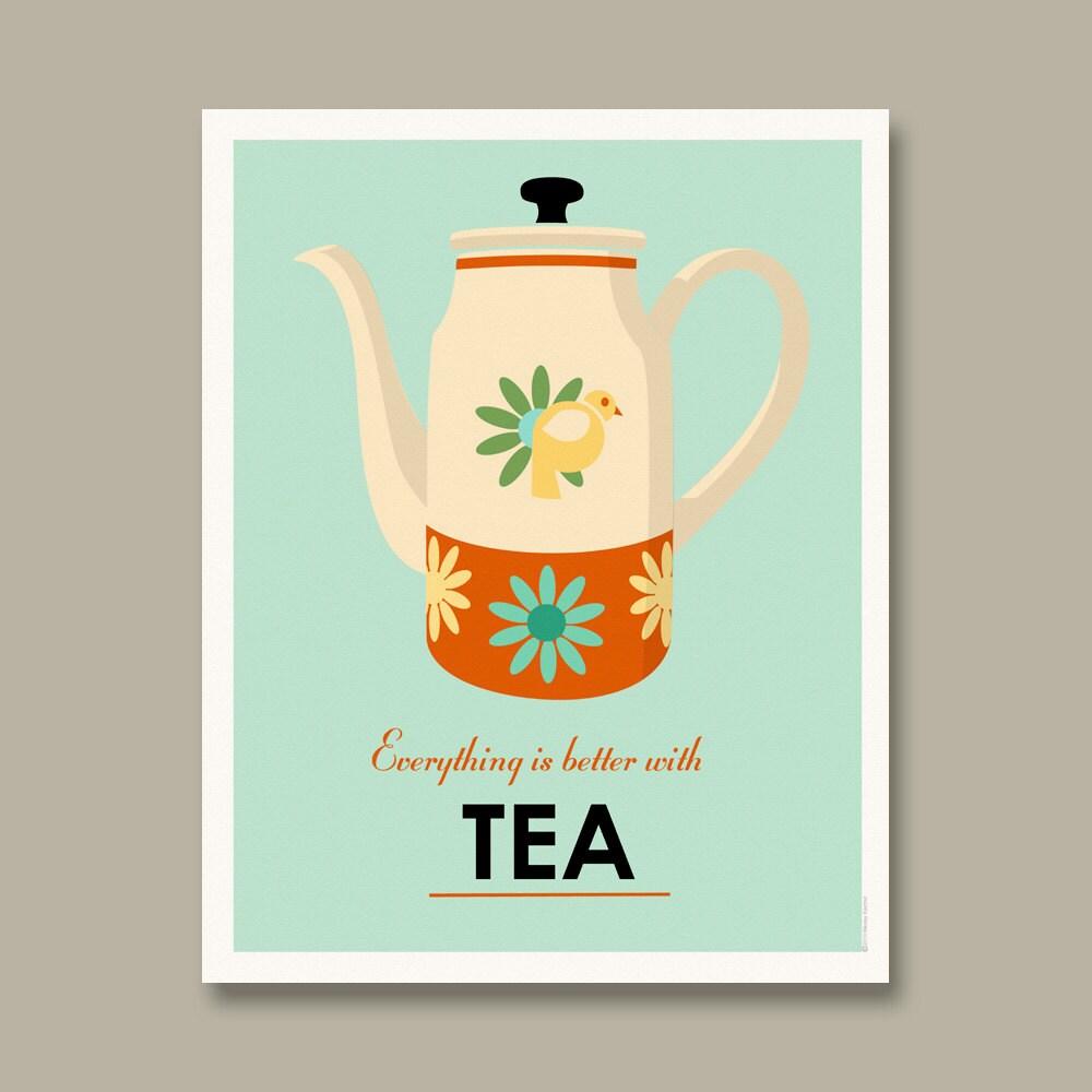 Kitchen Art Tea: Mid Century Tea Pot Poster By