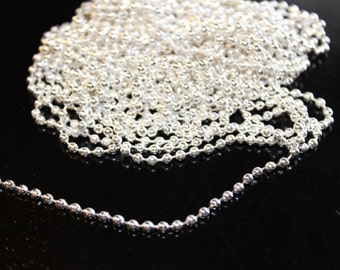 15 ft iron ball chain, silver color 2.4 mm diameter, 5 yds, perfect for necklaces