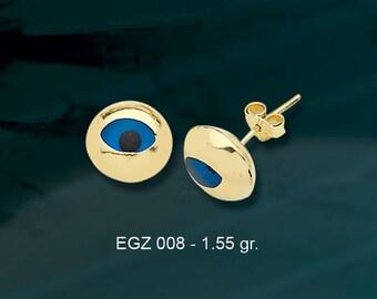 14K Solid Gold Evil Eye Good Luck Earrings EGZ008