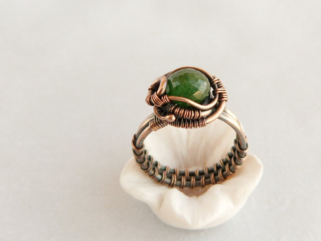 wire ring cooper ring wire jewelry emerald green