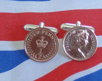 Boxed Pair Vintage British Half Pence Penny British Coin Cufflinks Birthday Wedding Anniversary