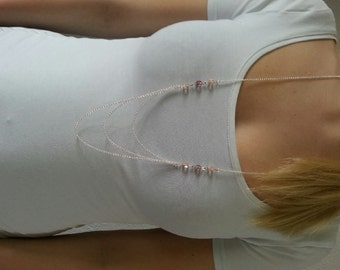 Long necklace with nice pink coloured beads