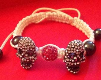 Crystal pave' shamballa skull bracelet on white silk cord, pave skull bracelet, skulls, shambala